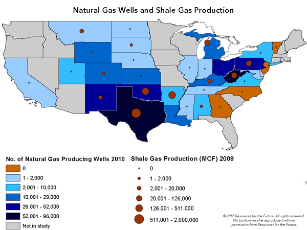 Shale gas well production map